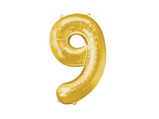 Supershape Balloon Number 9 Gold (100cm)