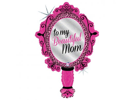 Mirror Fucshia Foil Balloon To my Beautiful Mom