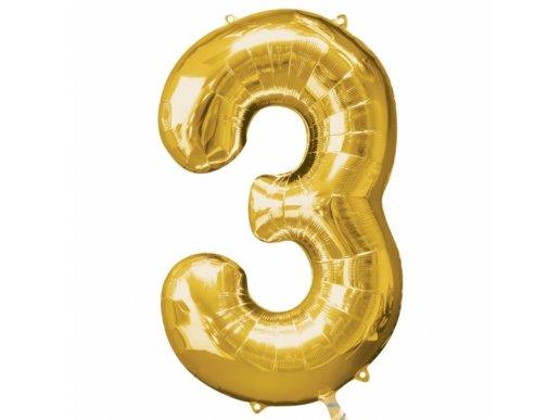 Supershape Μπαλόνι Αριθμός 3 Χρυσό (100εκ)