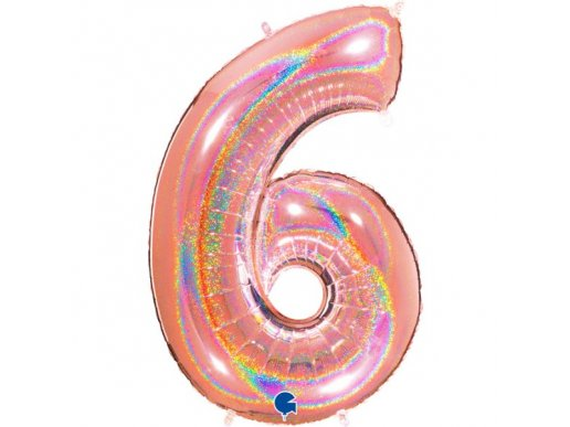 Rose Gold Holographic Supershape Balloon Number 6 (100cm)