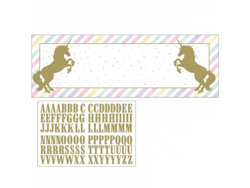 Unicorn with Stars Banner with Stickers