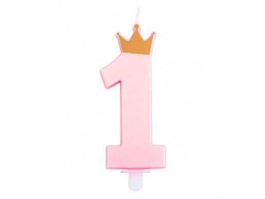 1 Ροζ Περλέ Κερί Αριθμός Με Χρυσή Κορώνα Για Τούρτα Γενεθλίων