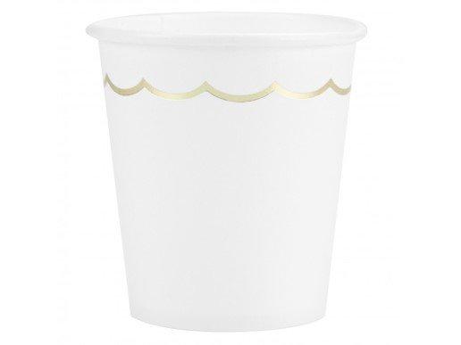 Άσπρα Χάρτινα Ποτήρια με Χρυσό Περίγραμμα (8τμχ)