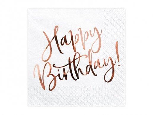 Άσπρες Χαρτοπετσέτες για Γενέθλια με Ροζ Χρυσό Μεταλλικό Τύπωμα 20τμχ