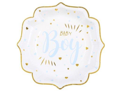 Baby Boy Γαλάζιο με Χρυσοτυπία Πιάτα Χάρτινα (10τμχ)