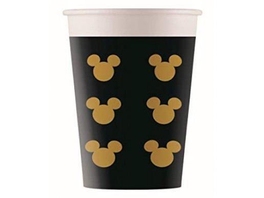 Black and Gold Μίκυ Μάους Ποτήρια Χάρτινα (8τμχ)