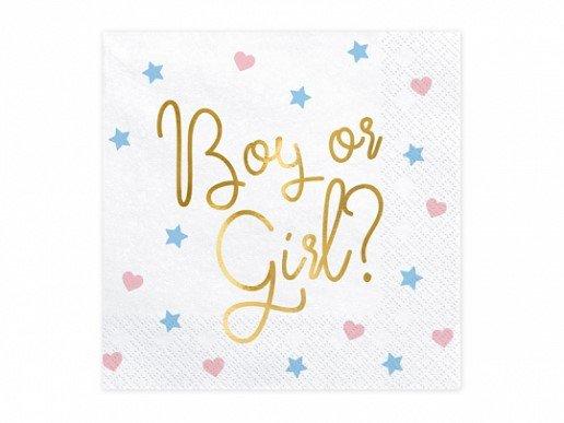 Boy or Girl Χαρτοπετσέτες για την Αποκάλυψη του Φύλου (20τμχ)