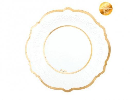 Classic Μεγάλα Χάρτινα Πιάτα με Χρυσό Μεταλλικό Τύπωμα 8/τμχ