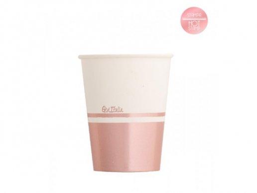 Classic Ποτήρια Χάρτινα με Ροζ Χρυσό Μεταλλικό Τύπωμα (8τμχ)
