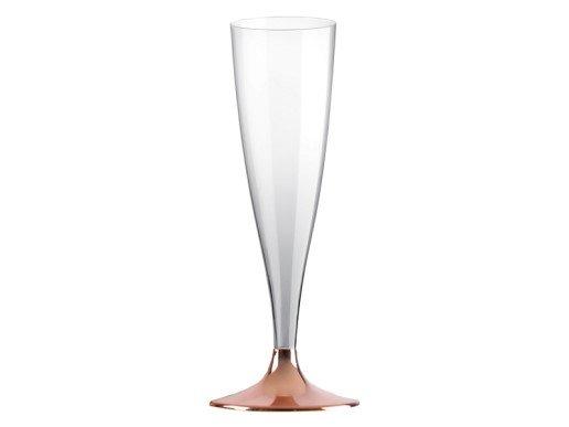 Διάφανα Ποτήρια Σαμπάνιας με Ροζ Χρυσή Βάση (10τμχ)