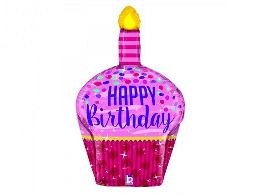 Cupcake Ροζ Και Φούξια Μπαλόνι Supershape Για Γενέθλια