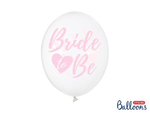 Clear Latex Balloons with Pink Bride to Be Print (6pcs)