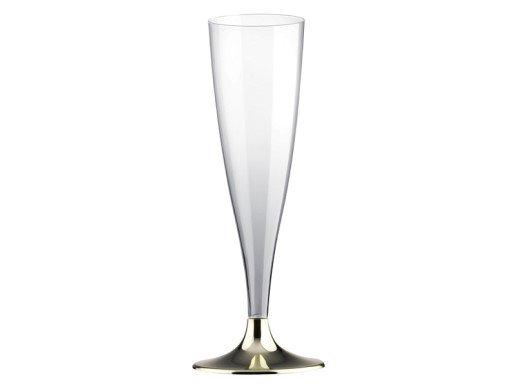 Διάφανα Ποτήρια Σαμπάνιας με Χρυσή Βάση (10τμχ)