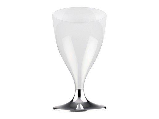 Διάφανα Ποτήρια του Κρασιού με Ασημί Βάση (10τμχ)