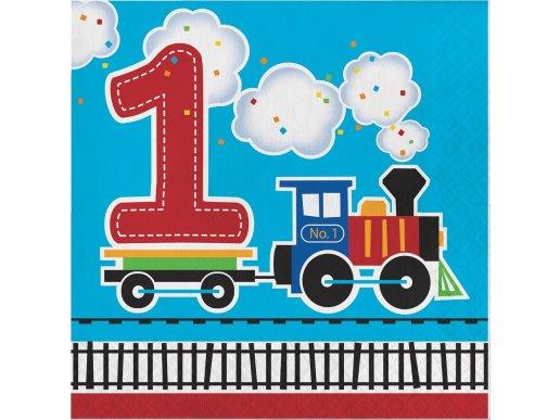 First Birthday Train luncheon napkins (16pcs)