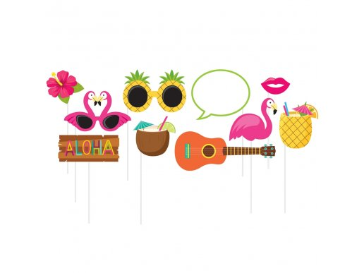 Aloha and flamingo photobooth props (10pcs)