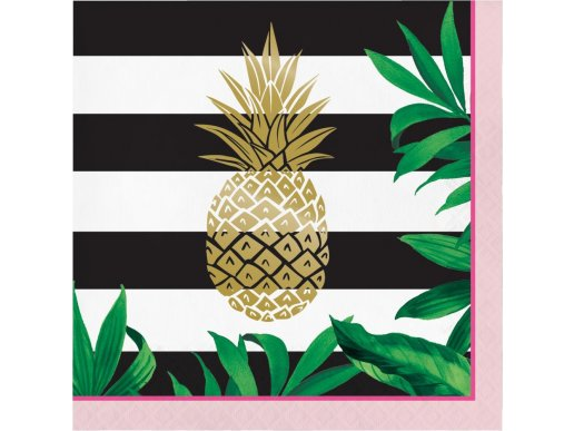 Pineapple Gold Foiled Luncheon Napkins 16/pcs