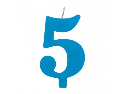 5 Number Five Blue Cake Candle