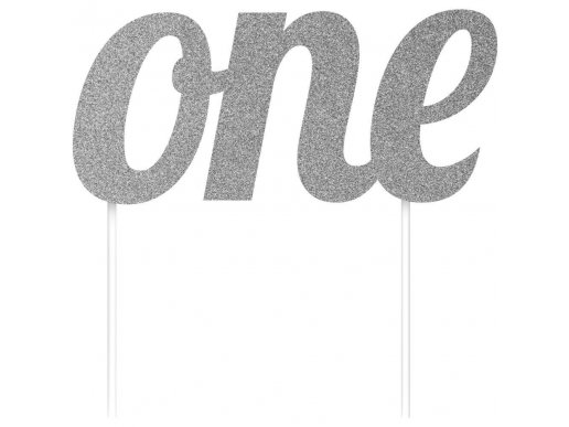 Silver One with Glitter Cake Topper