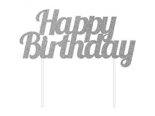 Silver with Glitter Happy Birthday Cake Topper