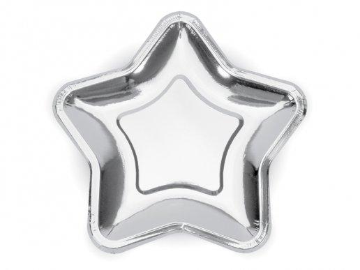 Ασημί Μεταλλικά Αστέρια Μεγάλα Χάρτινα Πιάτα 6τμχ