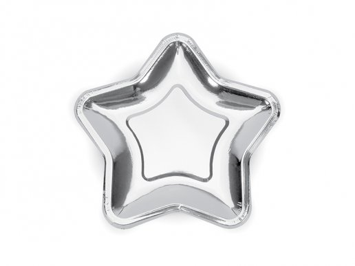 Metallic Silver Star shaped small paper plates 6/pcs