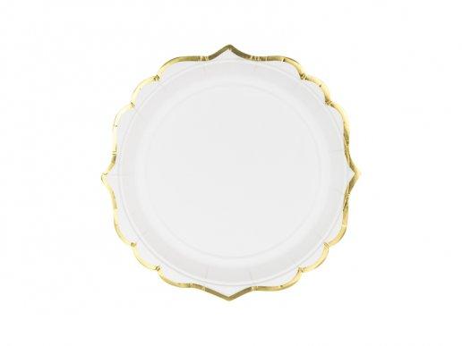 Άσπρα Μικρά Χάρτινα Πιάτα Με Χρυσή Μπορντούρα 6τμχ