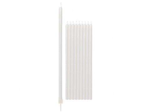 White Pearl Tall Cake Candles 10/pcs