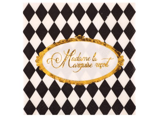 Black & White Gold Foiled Beverage Napkins Madame la Marquise vous Recoit 20/pcs