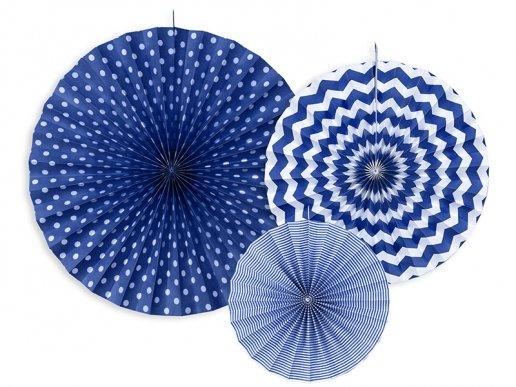 Blue fan decoration 3/pcs