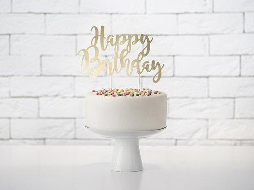 Χρυσό Happy Birthday Αξεσουάρ Για Τούρτα Γενεθλίων