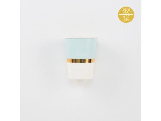 Chic Γαλάζιο Με Χρυσοτυπία Ποτήρια Χάρτινα (8τμχ)