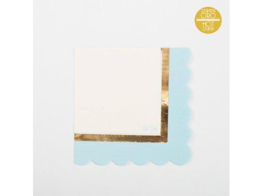 Chic Γαλάζιο Με Χρυσοτυπία Χαρτοπετσέτες Φαγητού (16τμχ)