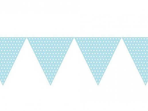Pale Blue with Dots Paper Flag Banner