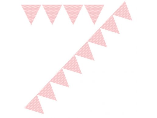 Pink with white dots paper flag banner