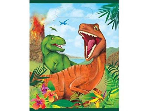 Dinosaures Plastic Loot Bags 8/pcs