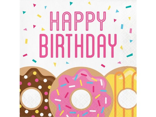 Happy Birthday Donuts luncheon napkins 16/pcs