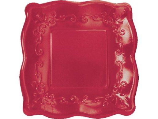 Elise Dark Red Embossed Design Small Paper Plates 8/pcs