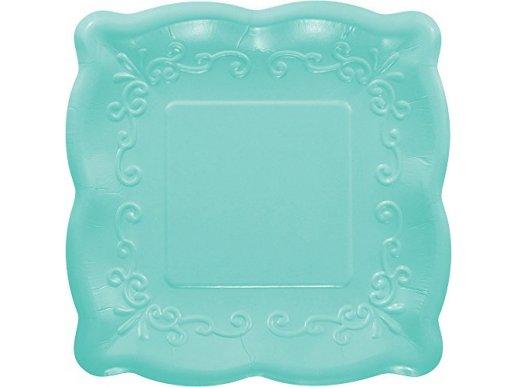 Elise Turquoise Embossed Design Large Paper Plates 8/pcs