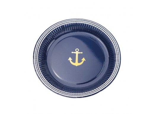Gold Navy Large Paper Plates 8/pcs