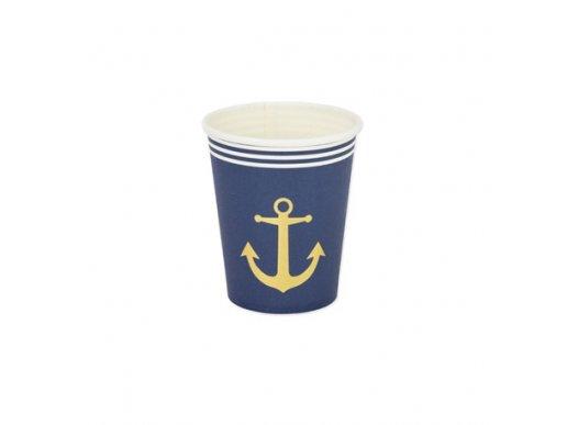 Gold Navy Paper Cups 8/pcs