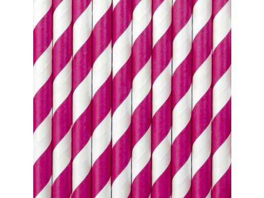 Hot Pink Swirl paper Straws 10/pcs