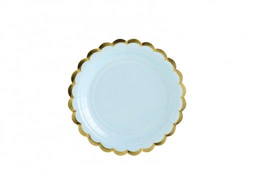 Γαλάζια Μικρά Χάρτινα Πιάτα Με Χρυσή Μπορντούρα (6τμχ)