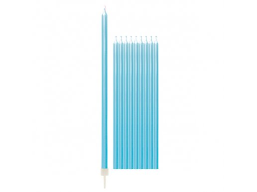 Pale Blue Pearl Tall Cake Candles (10pcs)