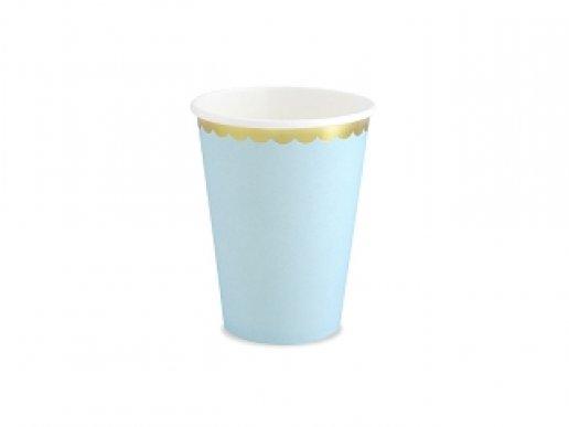 Pale Blue Paper Cups with Gold Edge (6pcs)