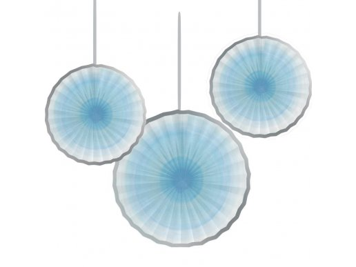 Light Blue Paper Fan Decoration with Silver Detail 3/pcs