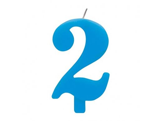 Blue Number Two 2 Cake Candle