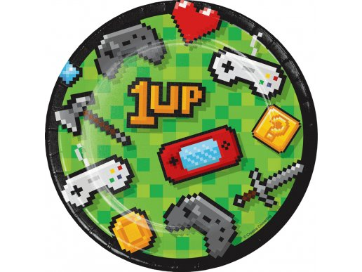Gaming Party Small Paper Plates (8pcs)
