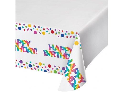 Rainbow Birthday Plastic Tablecover (137cm x 259cm)
