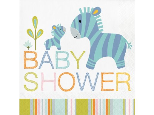 Happy Jungle Animals Baby Shower luncheon napkins (16pcs)